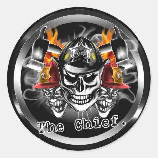 Firefighter Skulls: The Chief. Classic Round Sticker