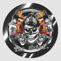 Firefighter Helmet Stickers. Firefighter Skulls: The Chief.