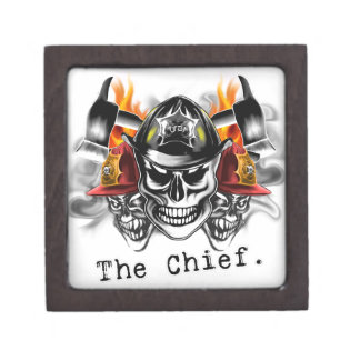 Firefighter Skulls: The Chief. Premium Jewelry Boxes