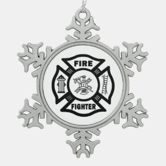 Firefighter Snowflake Pewter Christmas Ornament