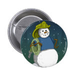 Firefighter Snowman 2 Inch Round Button