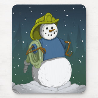 Firefighter Snowman Mouse Pad