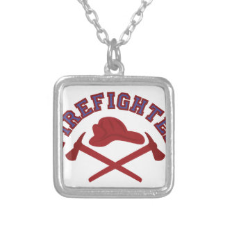 Firefighter Square Pendant Necklace