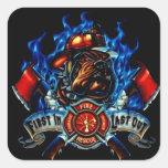 firefighter sticker square sticker