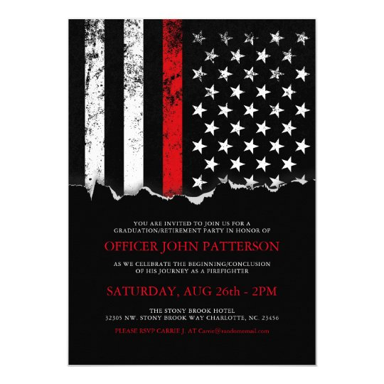 firefighter style american flag party invite zazzle com