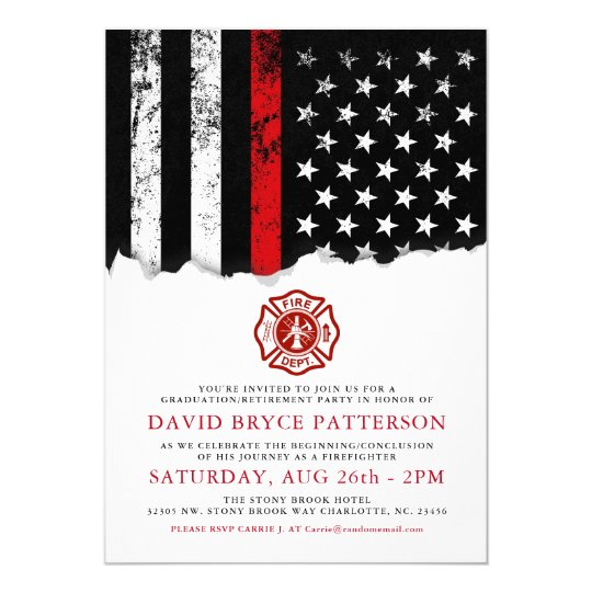 firefighter style american flag party white invite zazzle com