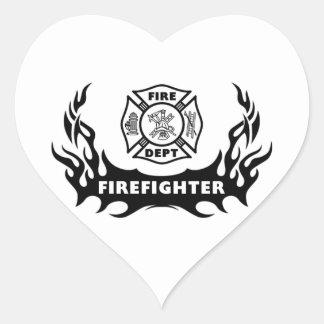 Firefighter Tattoo Heart Sticker