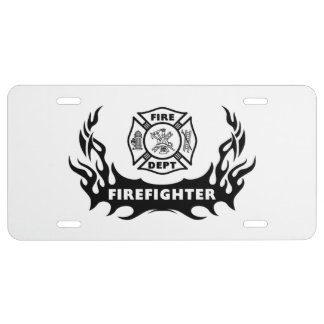 Firefighter Tattoo License Plate