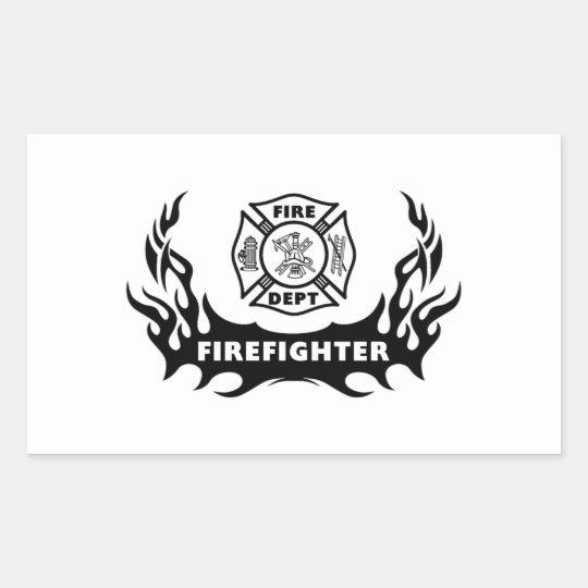 Firefighter Tattoo Rectangular Sticker