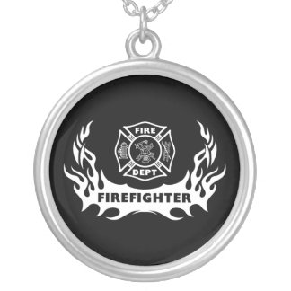 Firefighter Tattoo Round Pendant Necklace