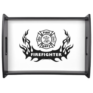 Firefighter Tattoo Serving Tray