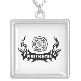 Firefighter Tattoo Square Pendant Necklace