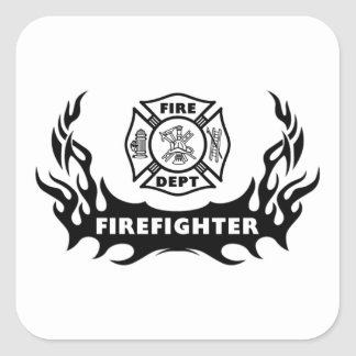 Firefighter Tattoo Square Sticker