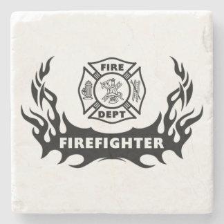 Firefighter Tattoo Stone Coaster