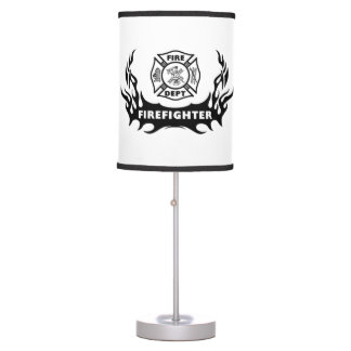 Firefighter Tattoo Table Lamp