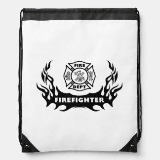 Firefighter Tattoos Drawstring Backpacks