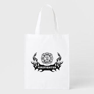 Firefighter Tattoos Grocery Bags
