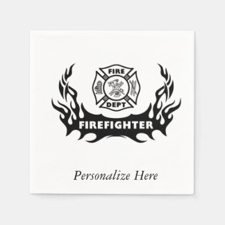 Firefighter Tattoos Paper Napkin