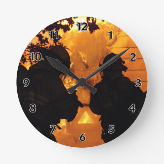 Firefighter Team Round Clock