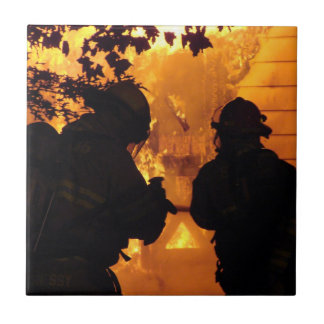 Firefighter Team Small Square Tile