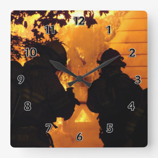 Firefighter Team Square Wall Clock