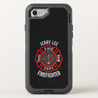 Firefighter Text Name OtterBox Defender iPhone 7 Case
