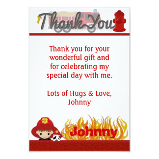 """FIREFIGHTER Thank You 3.5""""x5"""" (FLAT style) FF01A Card"""