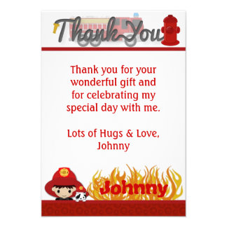 FIREFIGHTER Thank You 3 5 x5 FLAT style FF01B Custom Invitations