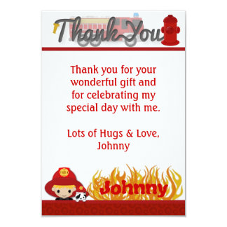 "FIREFIGHTER Thank You 3.5""x5"" (FLAT style) FF01C Card"