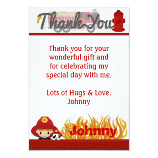 """FIREFIGHTER Thank You 3.5""""x5"""" (FLAT style) FF01D Personalized Invite"""