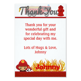"FIREFIGHTER Thank You 3.5""x5"" (FLAT style) FF02A 3.5"" X 5"" Invitation Card"