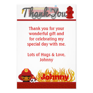FIREFIGHTER Thank You 3 5 x5 FLAT style FF03B Invite