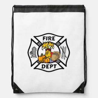 Firefighter Thanksgiving Drawstring Bags