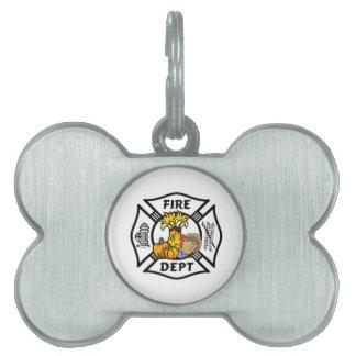 Firefighter Thanksgiving Logos Pet Tag