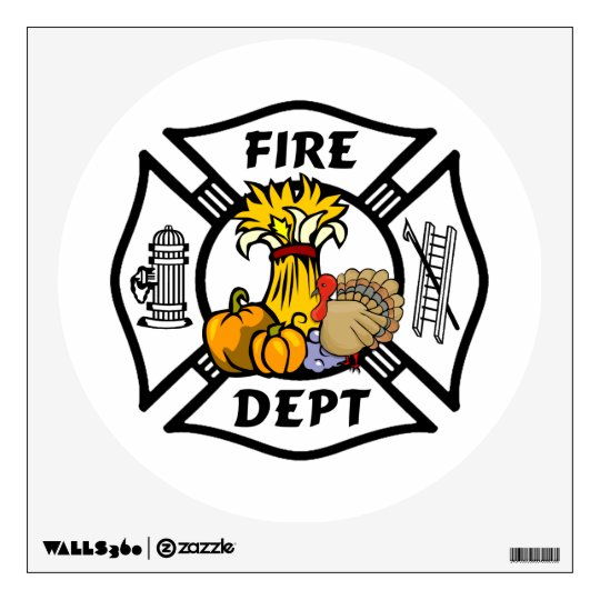 Firefighter Thanksgiving Logos Wall Sticker
