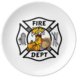 Firefighter Thanksgiving Porcelain Plate