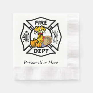 Firefighter Thanksgiving Paper Napkin