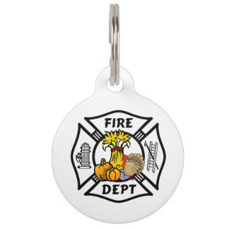 Firefighter Thanksgiving Pet Name Tag