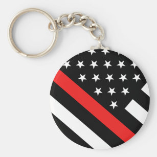 Firefighter - The Thin Red Line Flag Keychain