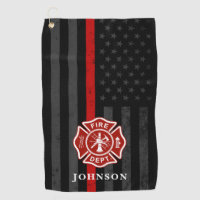 Firefighter Themed American Flag Golf Towel