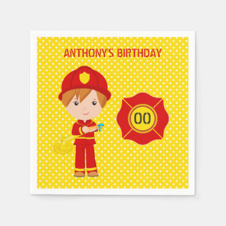 Firefighter themed Birthday Party personalized Paper Napkin