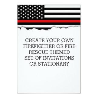 Firefighter Themed Flag Custom Invitations or Stat
