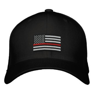 Firefighter Thin Red Line American Flag Embroidered Baseball Cap
