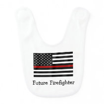 Firefighter Thin Red Line Baby Bib