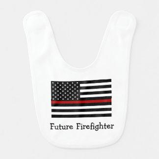 Firefighter Thin Red Line Baby Bib