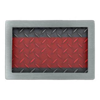 Firefighter Thin Red Line Diamond Plate Belt Buckles