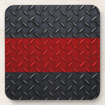 Firefighter Thin Red Line Diamond Plate Drink Coaster