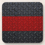 Firefighter Thin Red Line Diamond Plate Drink Coasters