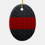 Firefighter Thin Red Line Diamond Plate Ornaments