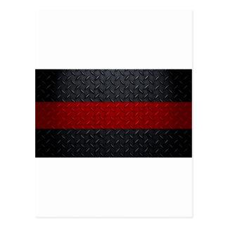 Firefighter Thin Red Line Diamond Plate Postcard
